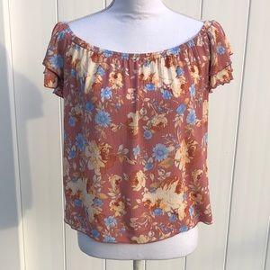 Off Shoulder Flower Shirt